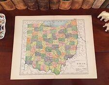 Original 1890 Antique Map OHIO Columbus Toledo Dayton Akron Canton Parma Lorain