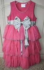 NEW Boutique Ooh! La La Couture Candy Pink Silver Bow Ruffle Tulle Dress 6 6X 7