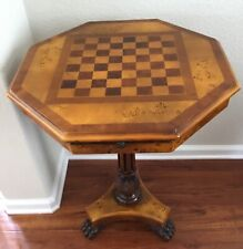 Theodore Alexander gaming octagonal chess set table burl maple wood stand claw