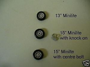 1/43rd scale Minilite wheels by K&R Replicas plain metal or chrome finish