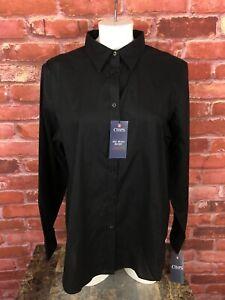 NWT Chaps No Iron Button Shirt Cotton Women's Large Black Blouse Shirt -F21
