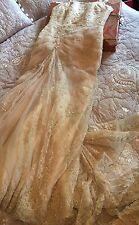 RONALD JOICE WEDDING DRESS 12 Gold Ivory Beaded Bolero Strap Hook Up Train VGC
