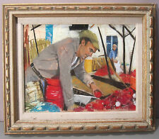 RHODA YANOW__Noted NJ Artist__'Man with Apples'__Pastel__Signed__ExC__SHIPS FREE