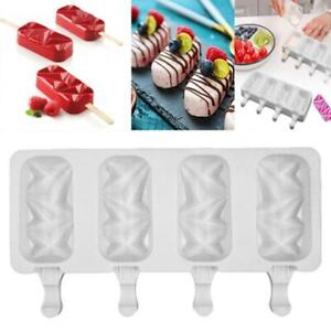 Large Silicone Frozen Ice Cream Mold Juice Popsicle Maker Lolly Mould 4 Cell HOT