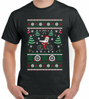 Cycling Christmas T-Shirt Santa Mens Funny Cyclist Bike MTB Road Racer Secret D2