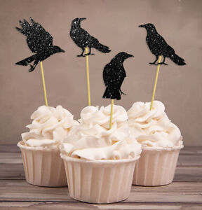 Halloween Party Glitter  Crow Cupcake Topper,Party Dessert-Pack Of 20-DSCCT-104A