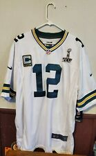 Nike Aaron Rodgers Green Bay Packers NFL Jersey White Super Bowl Patch