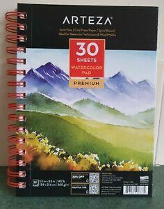 "ARTEZA Premium Watercolour Paper Pad   30  Sheets  , 5.5"" x 8.5"", Spiral Bound"