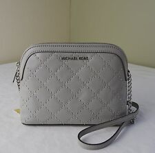 Michael Kors Pearl Grey Microstud Cindy Large Dome Crossbody