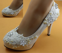 8.5/11cm heel white ivory lace crystal pearls Wedding shoes pumps bride size 2-8