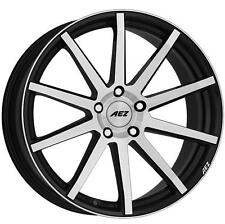 "17"" AEZ STRAIGHT MATT BLACK POLISHED FACE ALLOY WHEELS BRAND NEW 5x108 RIMS"