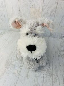 "Jellycat Gray White Schnauzer CAFFUFFLE Puppy Dog 9"" Plush Lovey Terrier"