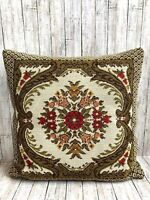"Vtg Wool Needlepoint Pillow Flowers Red Yellow Pink Velvet Green Back 15"" x 15"""