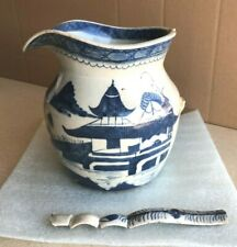 New listing Antique Chinese export porcelain blue white Canton large pitcher 19th C.