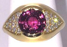 Important 18K Yellow Gold Rare Rhodolite Garnet Ring with Top Grade Diamonds