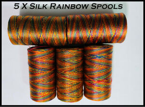 5 X Rainbow Spools Of Machine Silk Embroidery Threads For BROTHER ,JANOME | UK