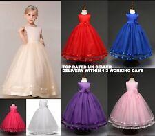Bridesmaid Flower Girl Long Wedding Dress Floor Length Party Prom Communion