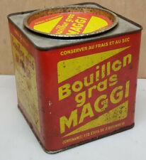 Ancien Grosse Boite publicitaire  tole vide Bouillon Gras MAGGI 112 étuis