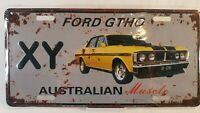 Ford GTHO XY Australian Yellow Muscle Car Tin Distressed Metal License Plate