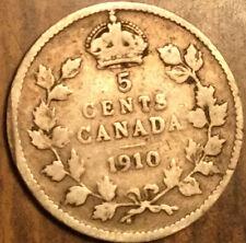 1910 CANADA SILVER 5 CENTS COIN