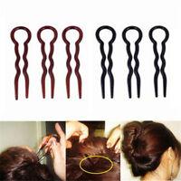 3/6X U-shaped Bun Hair Pin Clip Grips Brown/Black  Fashion Wavy Salon Hairpins