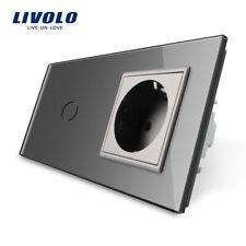 Livolo Glas Touch  Lichtschalter Grau Wandsteckdosen Touch Schalter mit Rahmen