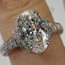14k white gold over oval cut 1.5 Ct d vvs1 diamond engagement promise ring wedds