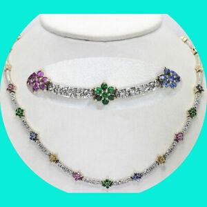 3.50CT Diamond ruby sapphire tsavorite flower necklace 14K gold round brilliant