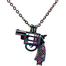 """C11 Rainbow Color Gun Pearl Cage Locket Pendant Necklace Steel 18"""""""