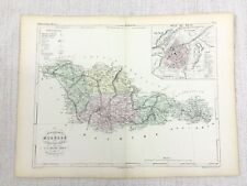 1853 Antique French Map Metz Grand Est France Old Hand Coloured Engraving