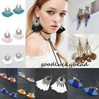 Womens Bohemian Earrings Long Tassel Feather Fringe Boho Dangle Earrings Jewelry