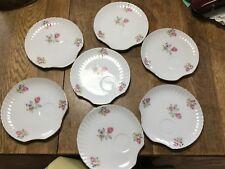 Vintage Porcelain Snack Luncheon plates Rose Floral Japan set of 7 fluted edge
