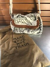 Make Love Not Trash White Canvas Crossbody Bag w/Leather Accents and Dust Bag