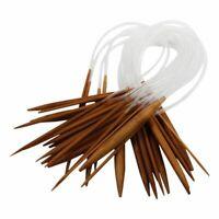 18 Pairs 16'' (40cm) Circular Carbonized Bamboo Knitting Kits Needles Set (2Z1C9