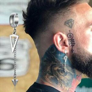 Single Irregular Long Chain Cuff Non-pierced Earrings Men Ear Clip Hoop Jewelry