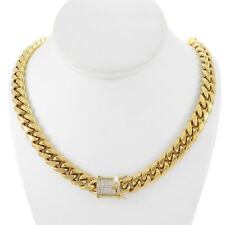 """Men's Cuban Miami Link 30"""" Chain 18k Gold Plated Stainless Steel 12mm Diamond"""