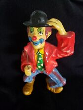 """Vintage Paper Mache Clown Standing - Signed """"Mexico"""" 12"""" Tall"""