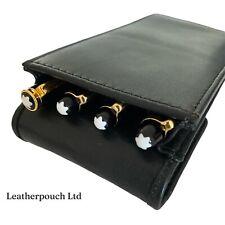 More details for black real leather triple/quadruple/four magnetic flap pen case/pouch/holder