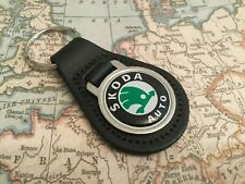 SKODA PRINTED BLACK LEATHER KEY RING FOB OCTAVIA FABIA SUPERB KODIAQ RAPID PEAR