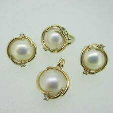 14K Yellow Gold Mother of Pearl with Diamond Accents Earring Pendant Ring Set
