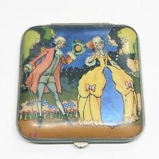 Antique Vintage Ladies Compact Gwenda Tap Flap Butterfly Wing Romance Scene