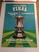 Programme Manchester United v Southampton FA cupfinal 1-5-76 signed Steve Coppel