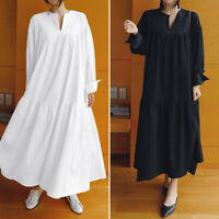 Women's Casual V Neck Long Shirt Dress Oversize Cotton Full Length Shirt Dress