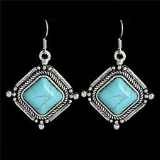 Unique Lovely Classica Retro Style Turquoise Stone Women's Hook Dangle Earrings