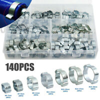 140Pcs Double Ear Clamp Silicone Petrol Water Fuel Hose Pipe O Clips with Box