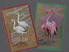 Playing Swap Cards 2 VINT GENUINE  U.S .FLAMINGO  CRANE  BIRDS  ON  GOLD  B/G 38