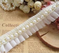 1 yd Vintage Pearl Beaded Lace Edge Trim Wedding Dress Ribbon Sewing DIY Craft