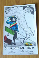CARTOLINA UN SALUTO DALL' ITALIA RARA VIAGGIATA 1905 SUBALPINA QQ