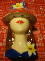 Homco Home Interiors Lady In Red Hat Tea Light Holder 3D Figural 2 Pc Burner 354