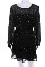 BB Dakota Womens Long Sleeve Metallic Star Mini Dress Black Size Small